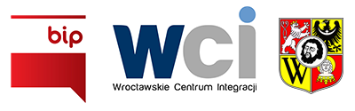 Logo Biuletynu Informacji Publicznej, Wrocławskiego Centrum Integracji oraz herb Wrocławia